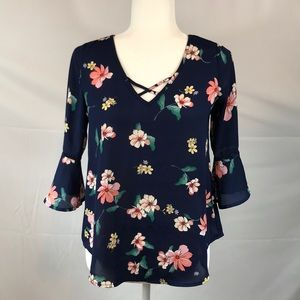 Sienna Sky- Navy floral bell sleeve Boho top, XS